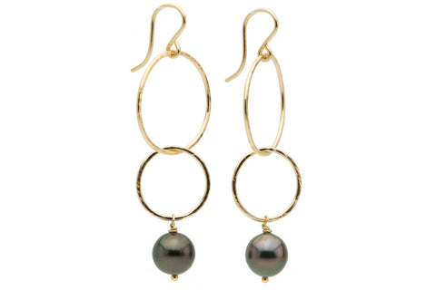 Dark purple Tahitian pearl double hoop dangle earrings gold