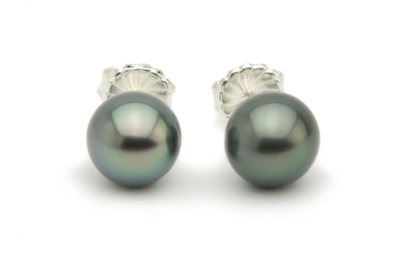Blue green dark silver Tahitian stud earrings on sterling