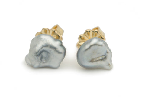 Continent map shaped Tahitian keshi pearl stud earrings
