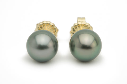 Green Tahitian Pearl Stud Earrings