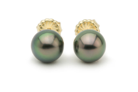 Deep peacock green Tahitian pearl stud earrings