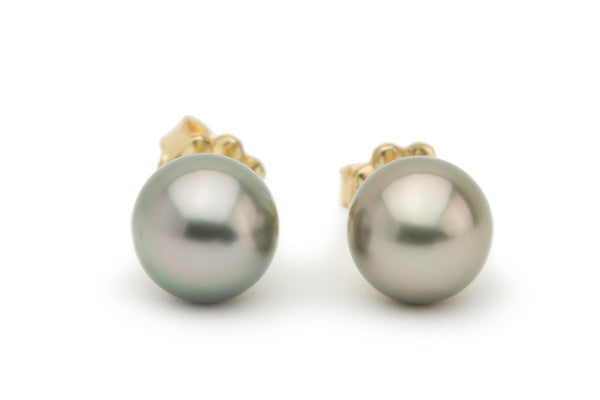 Warm silver pink Tahitian pearl stud earrings