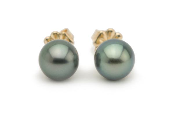 Beguiling Green-Blue Tahitian Pearl Stud Earrings