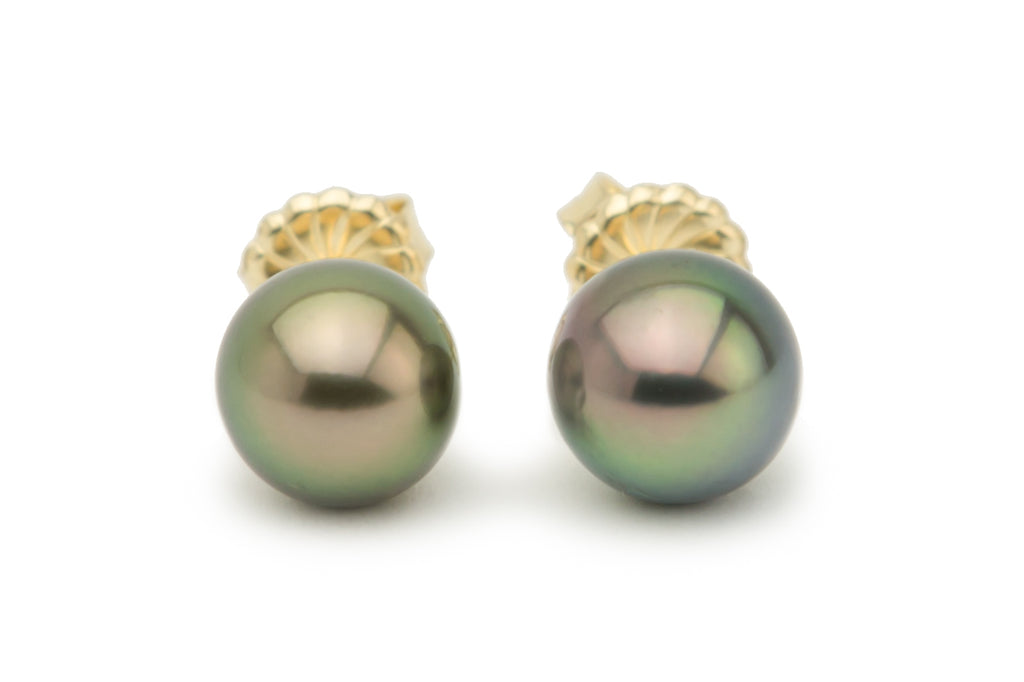 Golden Green Peacock Tahitian Pearl Stud Earrings