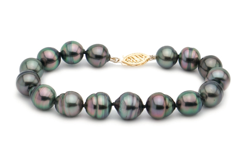 Purple blue green Tahitian circled pearl bracelet