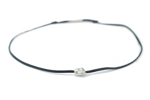 White Tahitian keshi pearl and leather necklace