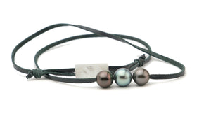 Light blue green and dark aubergine triple Tahitian pearl leather necklace