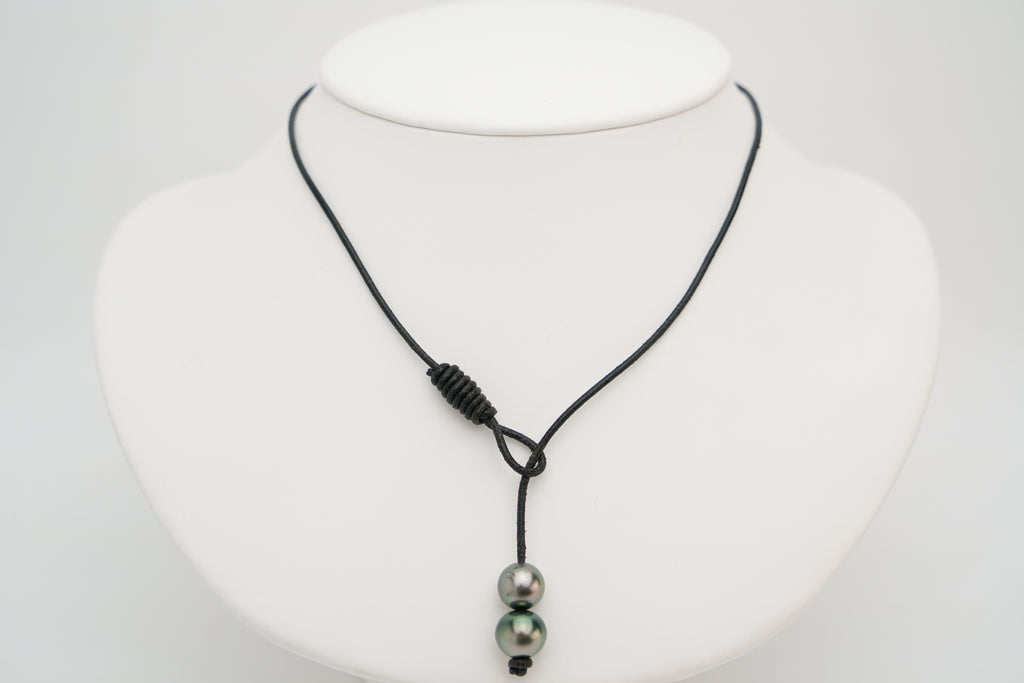 Double Tahitian pearl and kangaroo leather lariat necklace black
