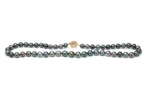Dark, colorful multi-color Tahitian pearl strand necklace