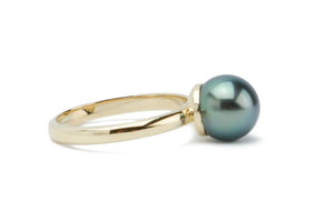 Blue Tahitian pearl ring on 14K gold