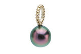 Flashy aubergine peacock Tahitian pearl beaded gold pendant