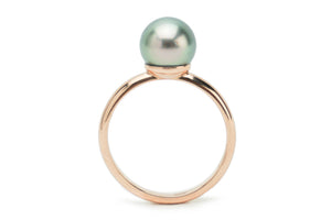 Light Green Tahitian Pearl Ring on Rose Gold