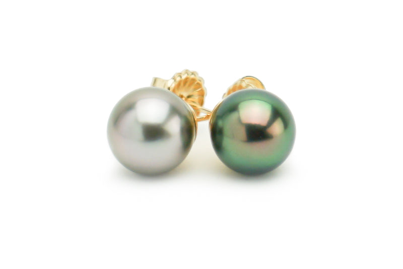 Black green and white Tahitian pearl mismatched stud earrings