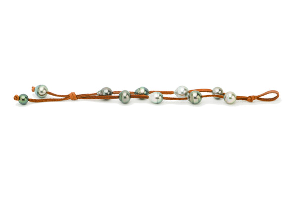 Tahitian pearl and deer leather double strand knotted bracelet