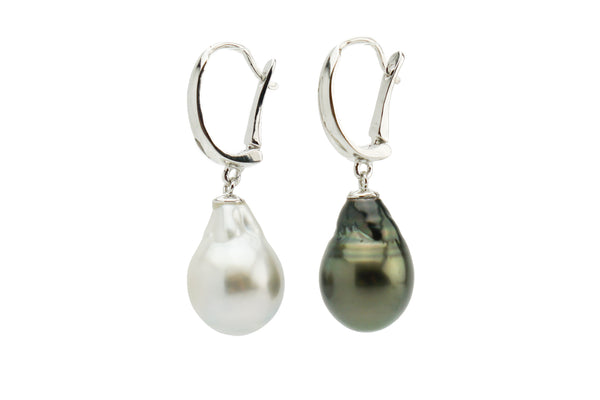 Black and white Tahitian pearl lever back Sterling dangle earrings