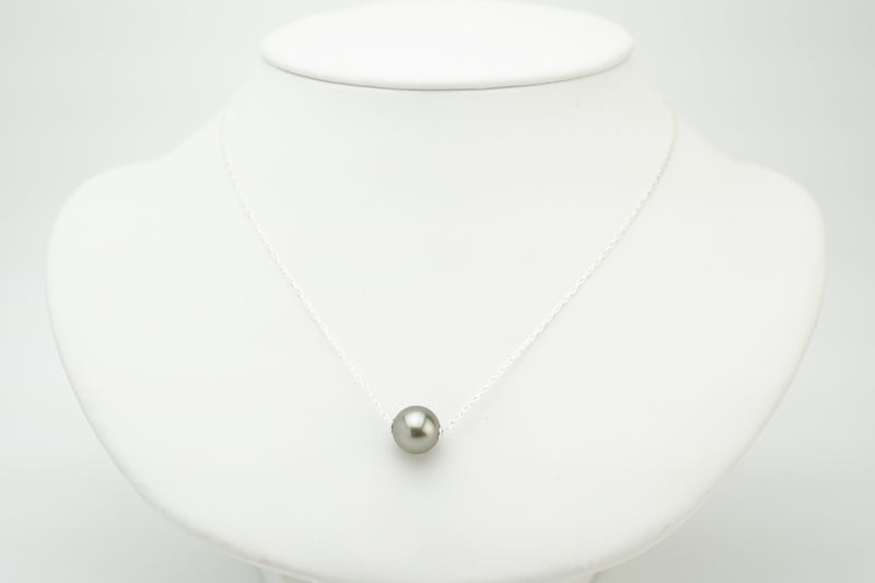 Neutral silver tone Tahitian 10mm pearl slider chain necklace