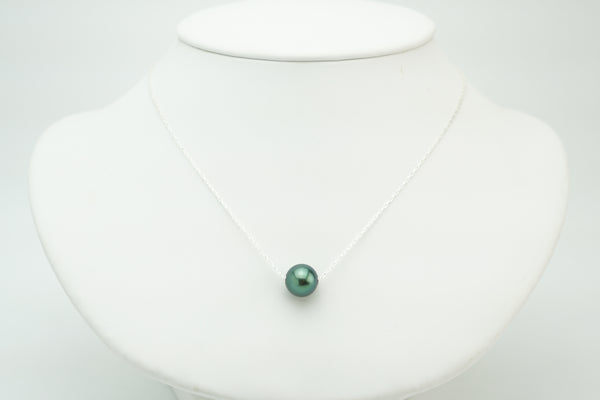 Bright green Tahitian round 10mm pearl sliding floating necklace