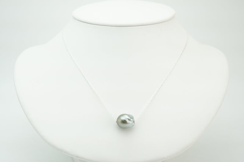 Tahitian 11mm baroque pearl slider chain necklace