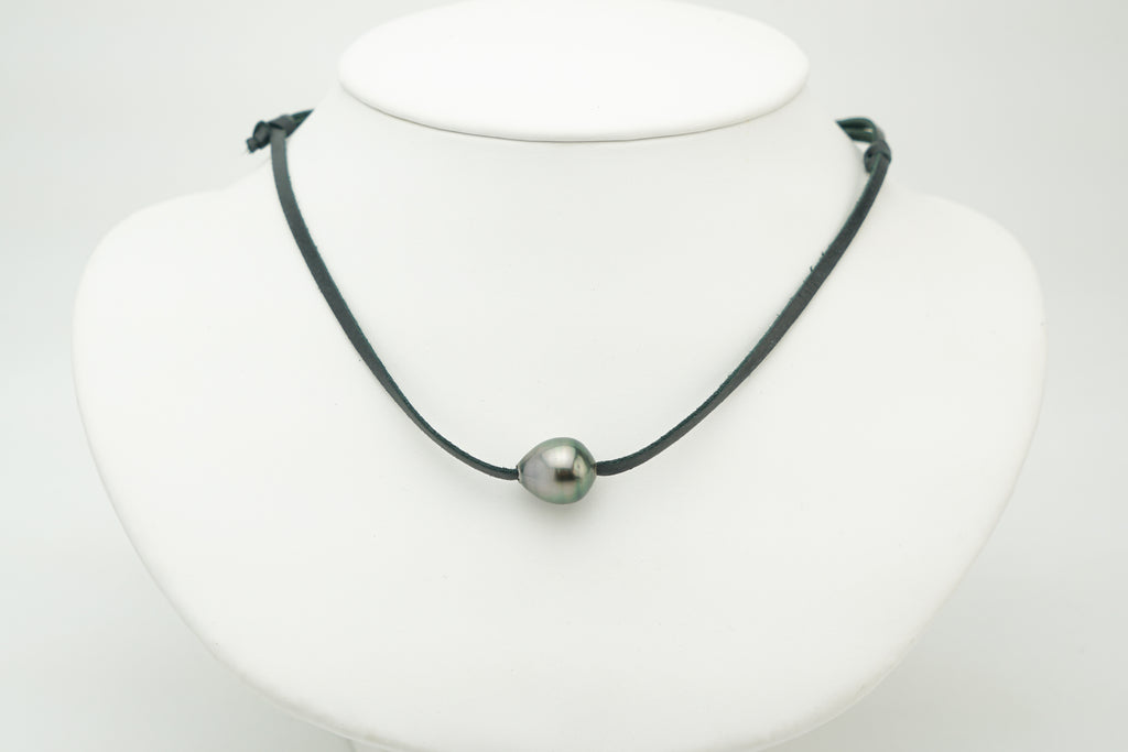 Pastel pink green drop Tahitian pearl on leather necklace