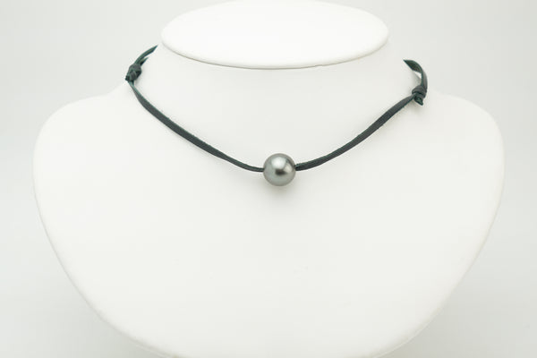 11mm Silver Tahitian pearl on leather necklace