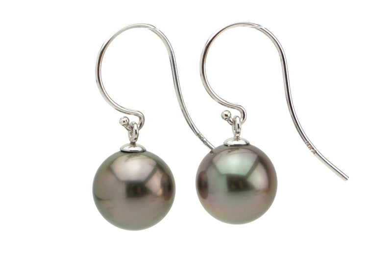 Silvery purple 10mm Tahitian pearl dangles on white gold