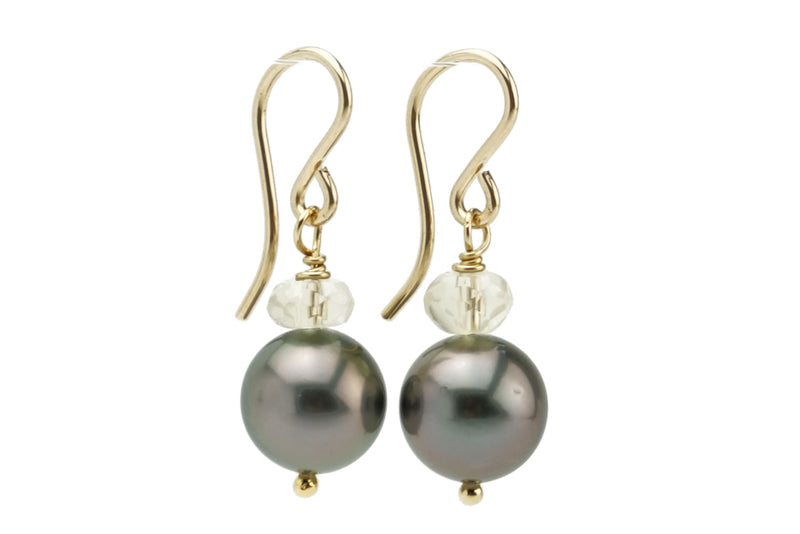 Purple Midnight Tahitian Pearl & Oregon Sunstone Earrings on Gold