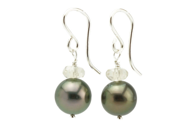 Coppery Green Tahitian Pearl & Oregon Sunstone Earrings on Silver