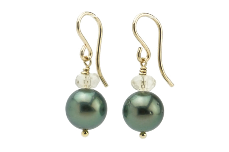 Bright green Tahitian pearl and Oregon sunstone dangle earrings