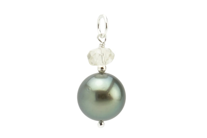Silvery green Tahitian pearl and Oregon Sunstone pendant on silver