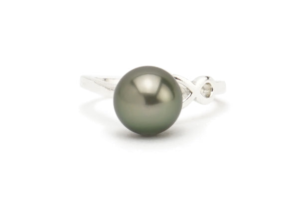 Tahitian pearl 9mm ring on sterling silver size 6.5