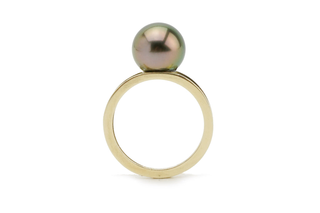 Golden pink green peacock Tahitian pearl ring on double gold band