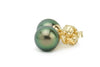 Bright green peacock Tahitian pearl stud earrings 9mm