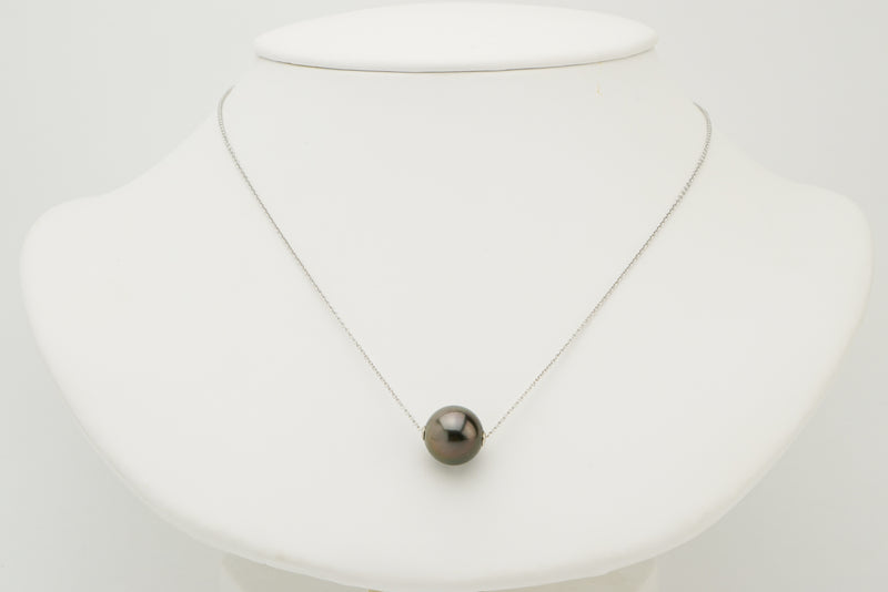 Purple Aubergine 12mm Tahitian pearl solitaire chain necklace on white gold