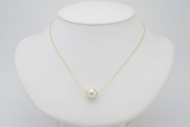 White Tahitian pearl solitaire sliding chain necklace