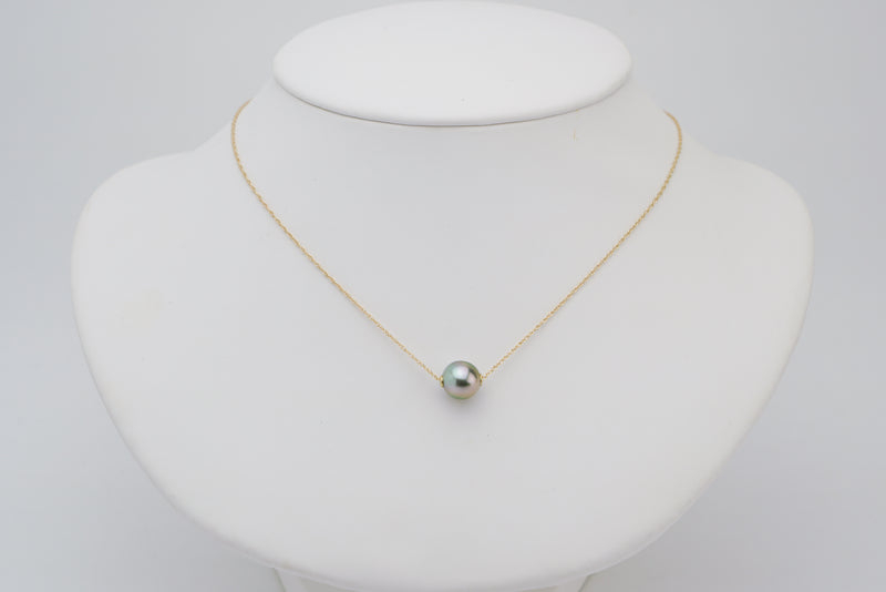 Silver pink sliding Tahitian pearl solitaire necklace