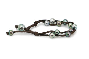 Double Tahitian pearl and deer leather bracelet chocolate