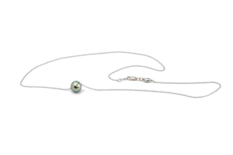 Brightest peacock green Tahitian pearl slider solitaire necklace