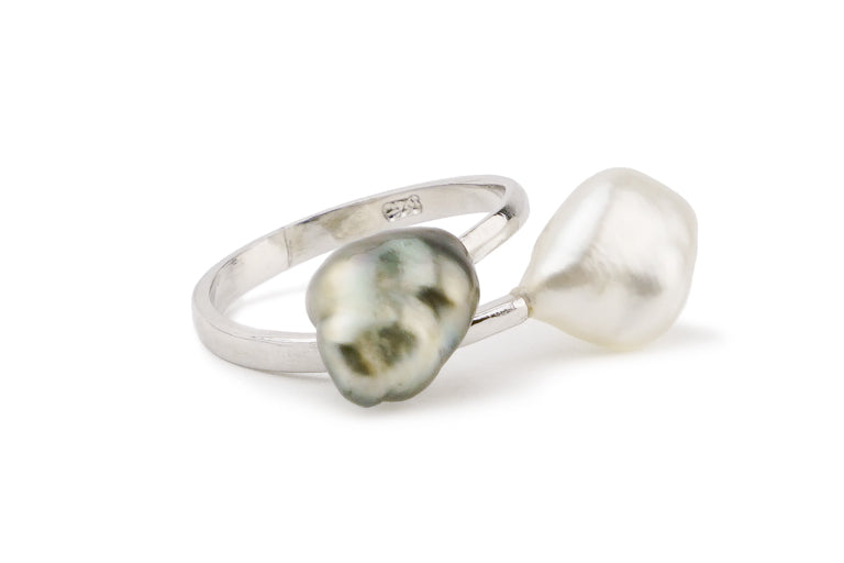 Tahitian keshi double bypass silver ring