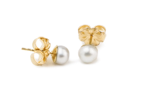 White Tahitian keshi pearl stud earrings