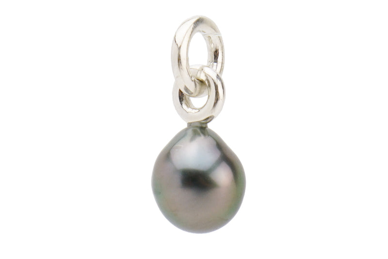 Baroque purple baroque Tahitian pearl drop pendant on silver