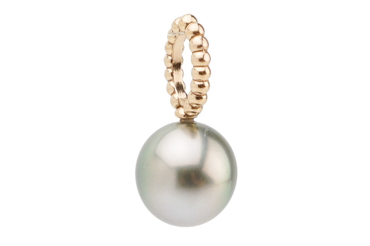 Pastel silver Tahitian pearl pendant on rose gold
