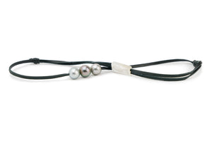 Triple Tahitian pearl necklace on kangaroo leather