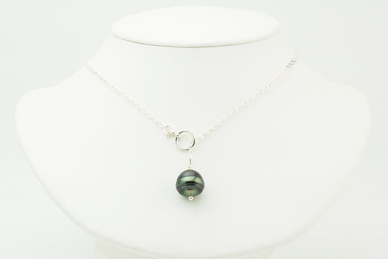 Forest Green Circles Tahitian Pearl Lariat Chain Necklace