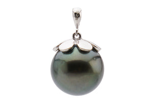 huge 13.5mm green Tahitian pearl pendant