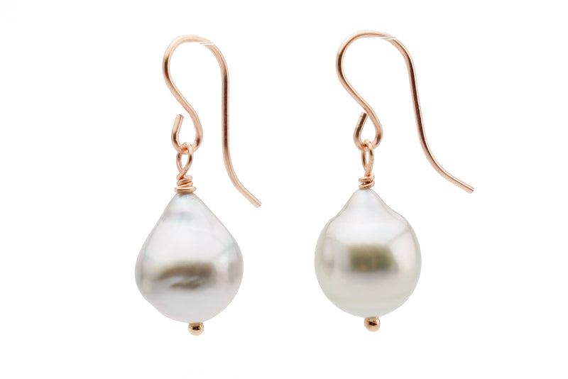 White baroque Tahitian pearl dangle earrings on rose gold