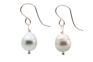 White baroque Tahitian pearl dangle earrings on Sterling silver