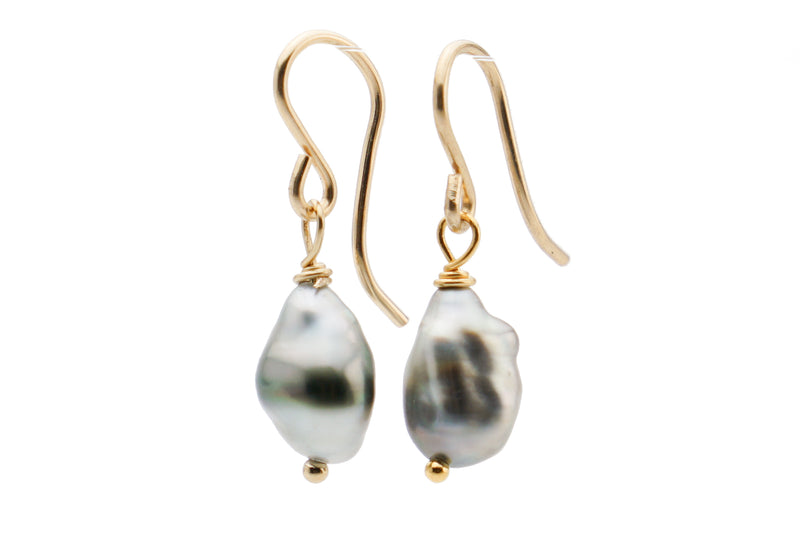 Dainty Tahitian keshi pearl dangle earrings