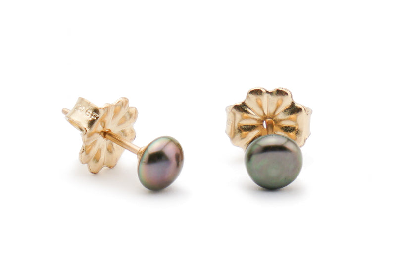 Tahitian keshi pearl aubergine stud earrings