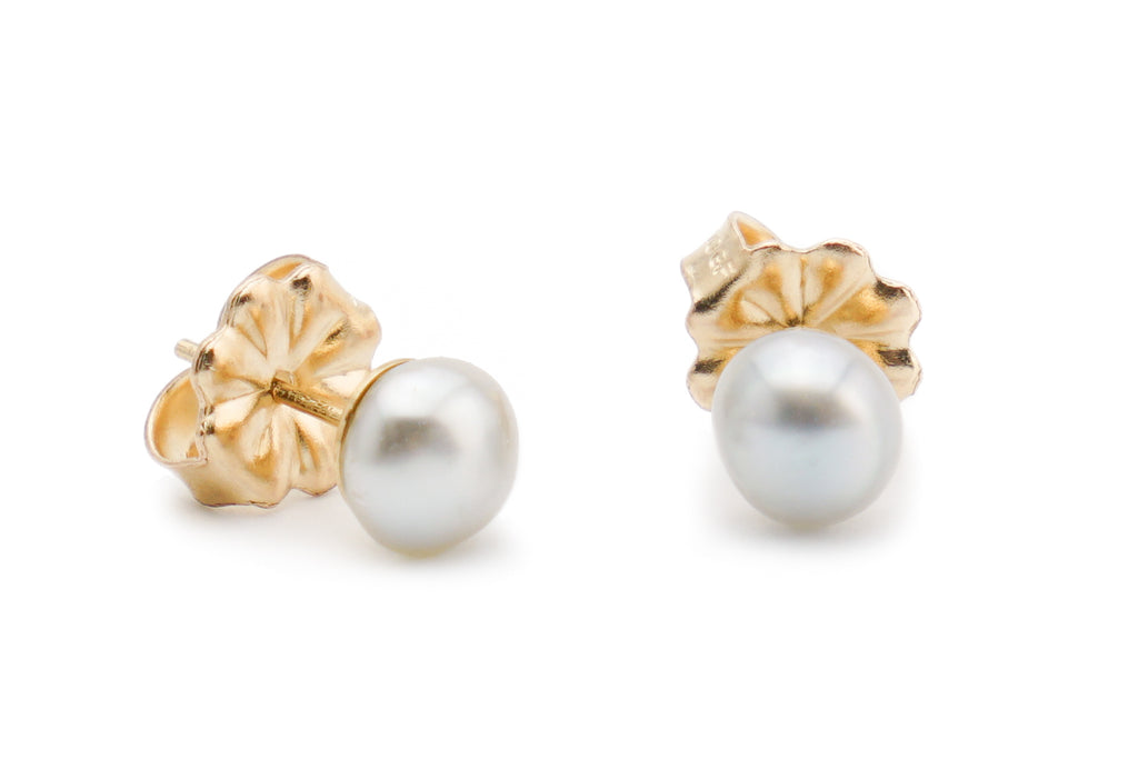 Perfect White Tahitian Keshi Pearl Stud Earrings