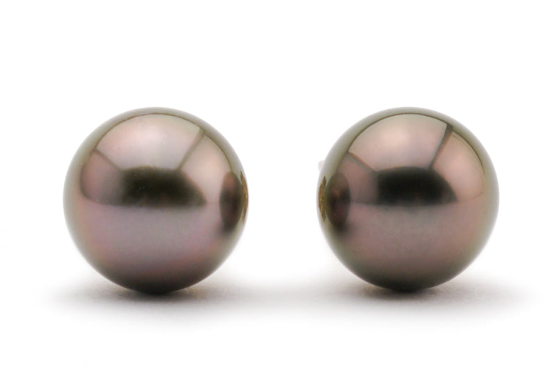 Aubergine Tahitian pearl stud earrings Kamoka
